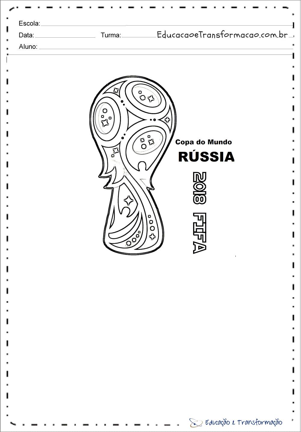 Atividades sobre a Copa do Mundo - Troféu Copa do Mundo 2018 na Russia para colorir