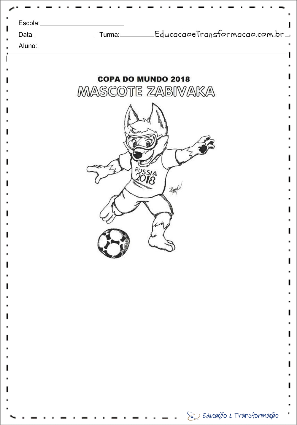 Desenhos Colorir Copa do Mundo – Mascote Pintar