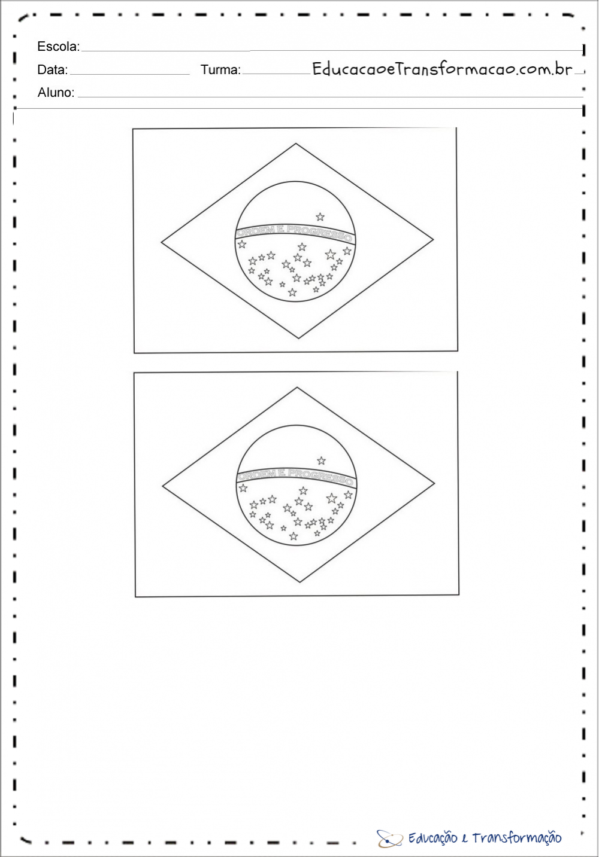 Desenho da Bandeira do Brasil ilustrada para imprimir