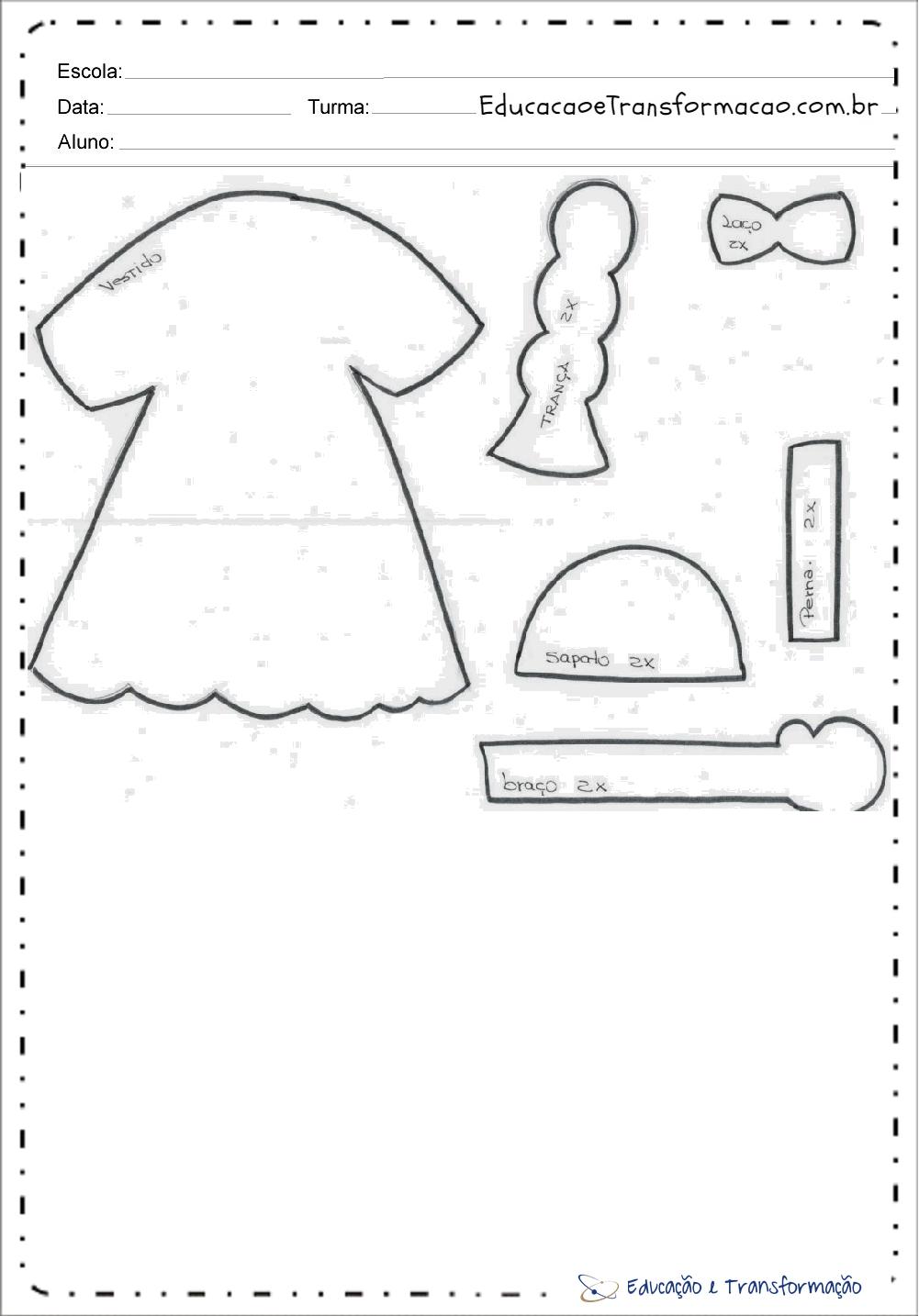 Moldes Casal Caipira em EVA – Menina