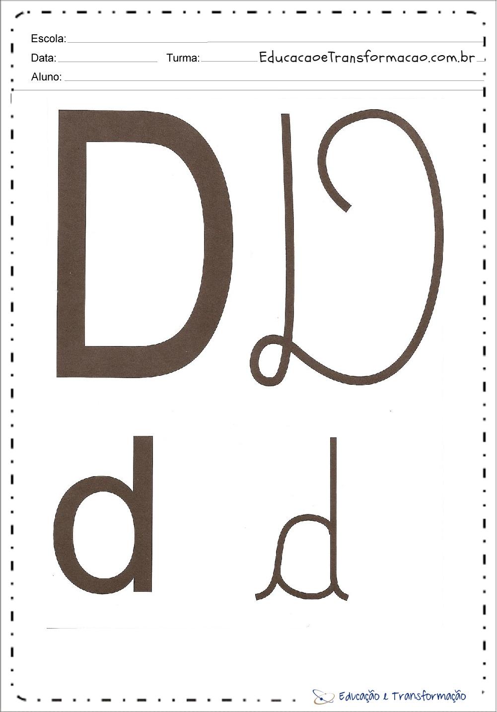 Letra 'D' maiúscula e minuscula – Bastão e Cursiva