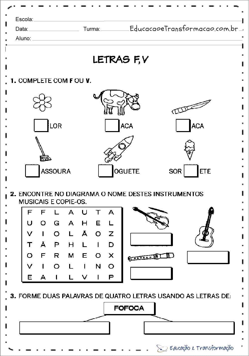 Atividades com a letra V