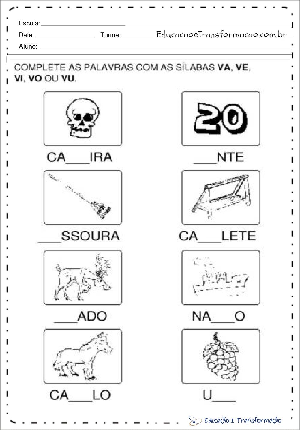 Atividades com a letra V para alfabetização – Complete as palavras