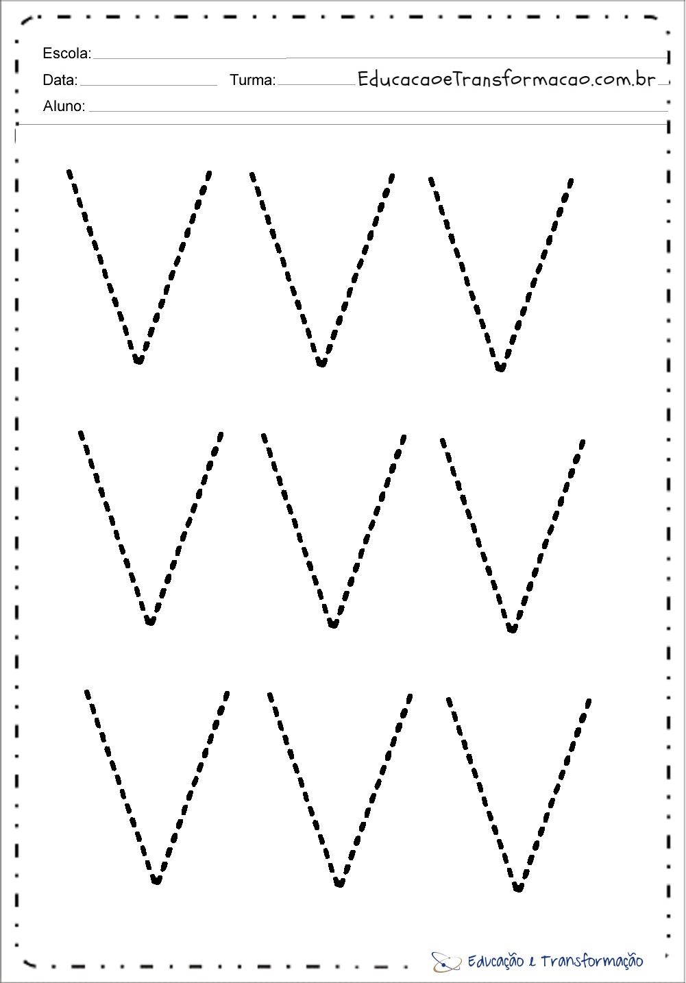 Atividades de Pontilhado da Letra V para imprimir
