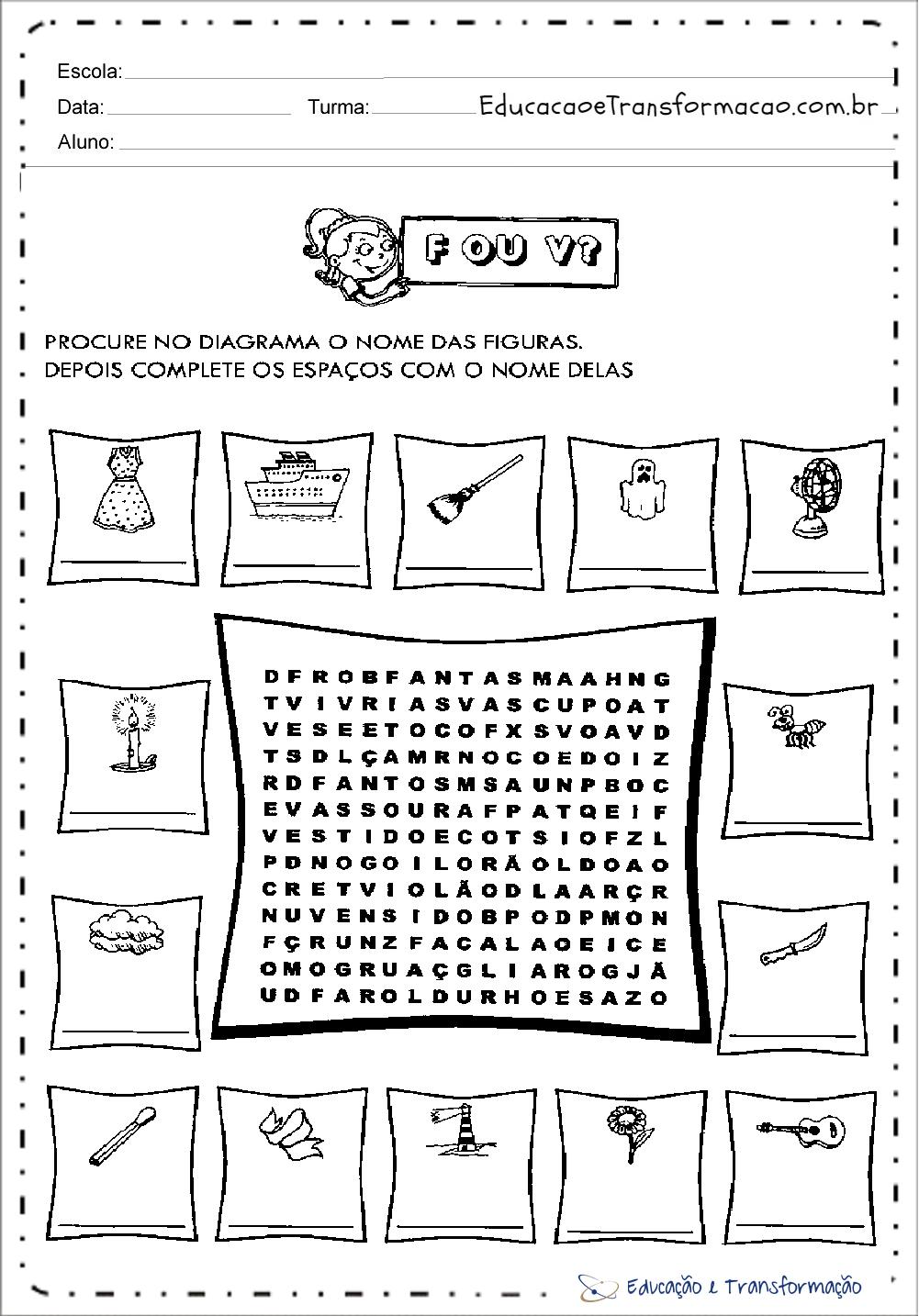 Atividades com a letra V ou F – Procure no diagrama
