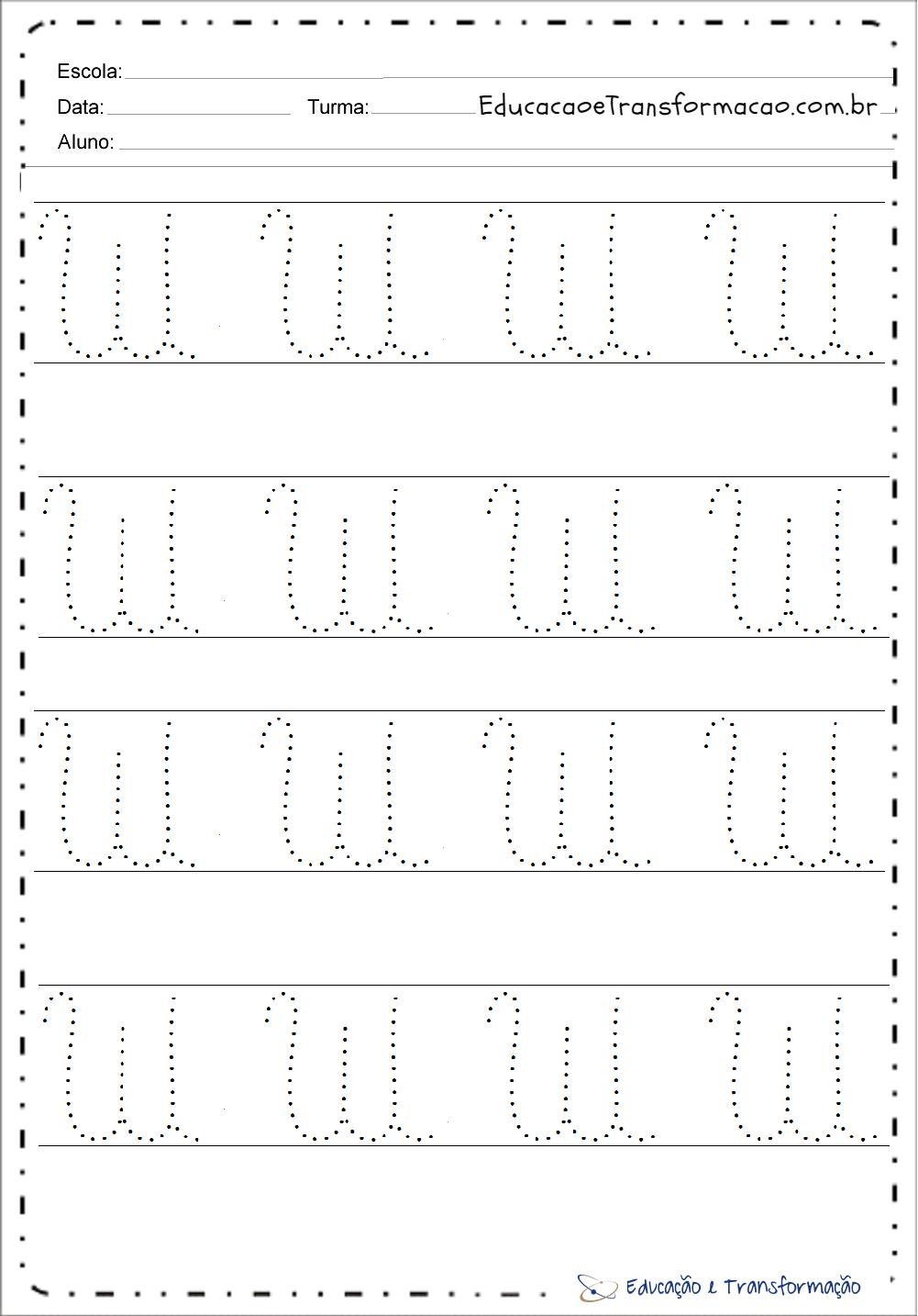Atividades de Pontilhado com a letra W para imprimir