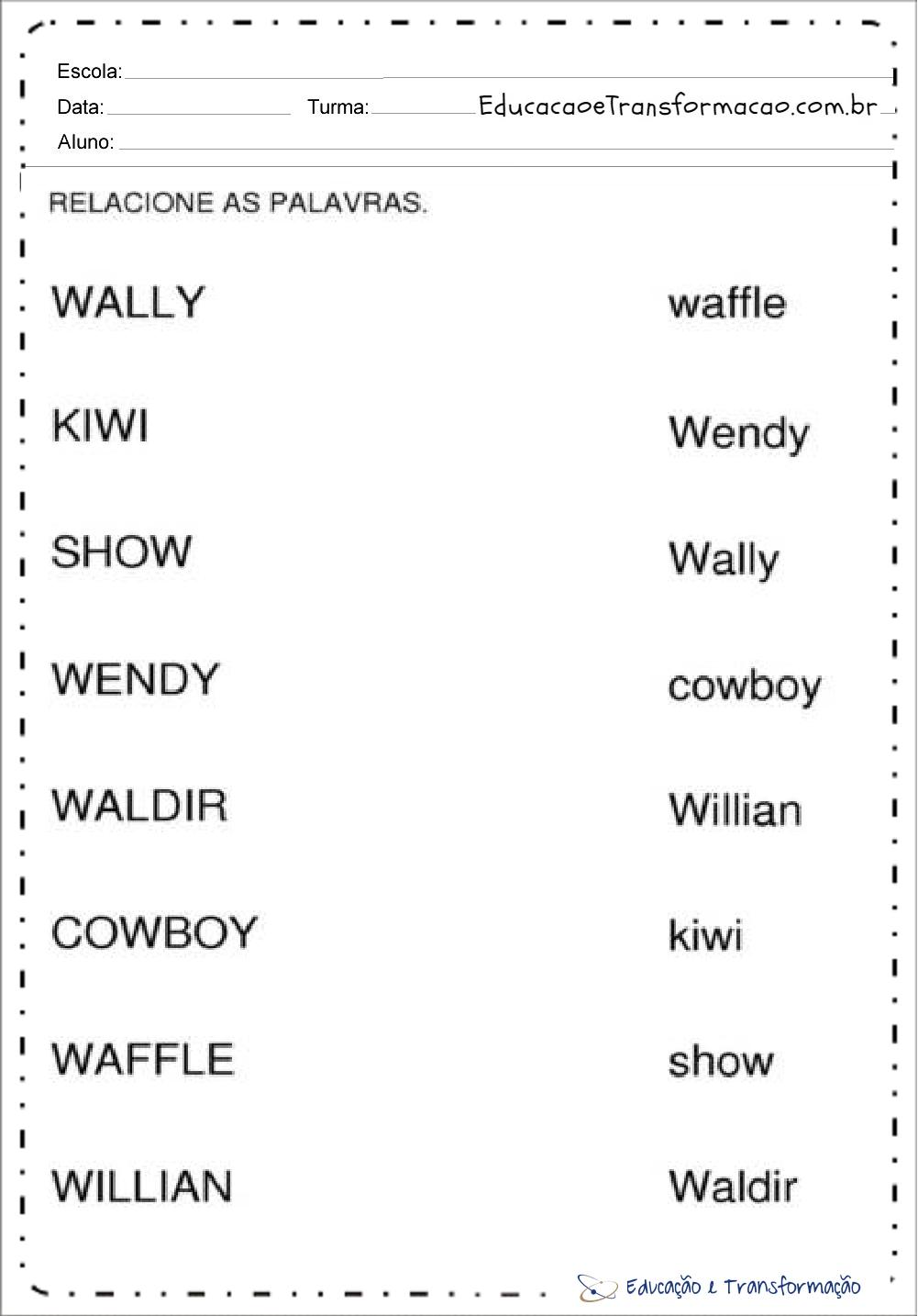 Atividades com a letra W para alfabetização - Atividades Educativas