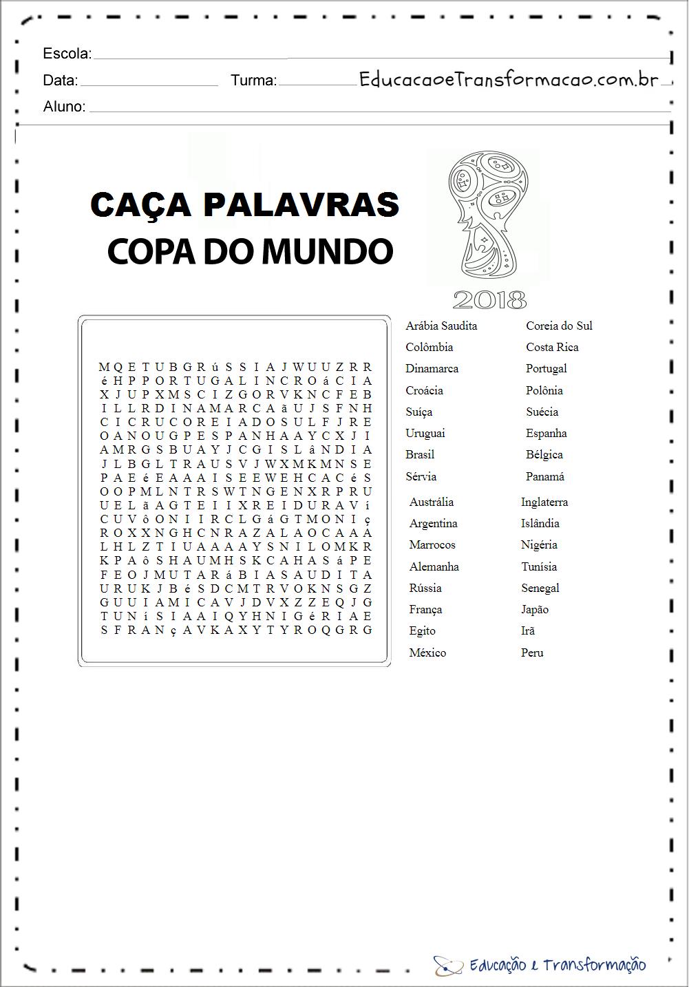 Atividades para Copa do Mundo – Caça Palavras 2018