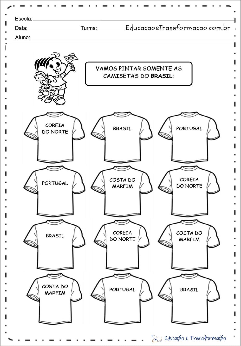 Atividades para Copa do Mundo – Camisetas do Brasil