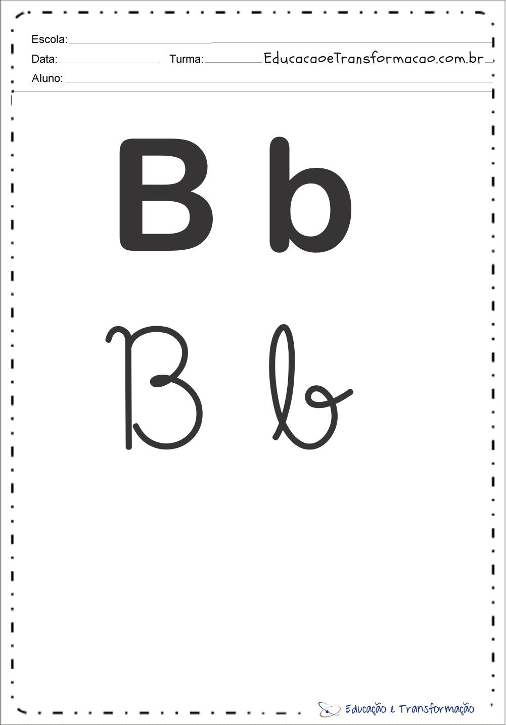 """Letra """"B"""" maiúscula e minuscula – Bastão e Cursiva"""