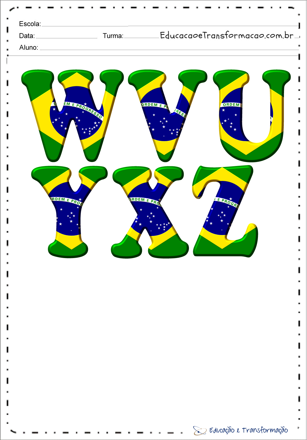 Moldes de Letras do Alfabeto do Brasil para imprimir