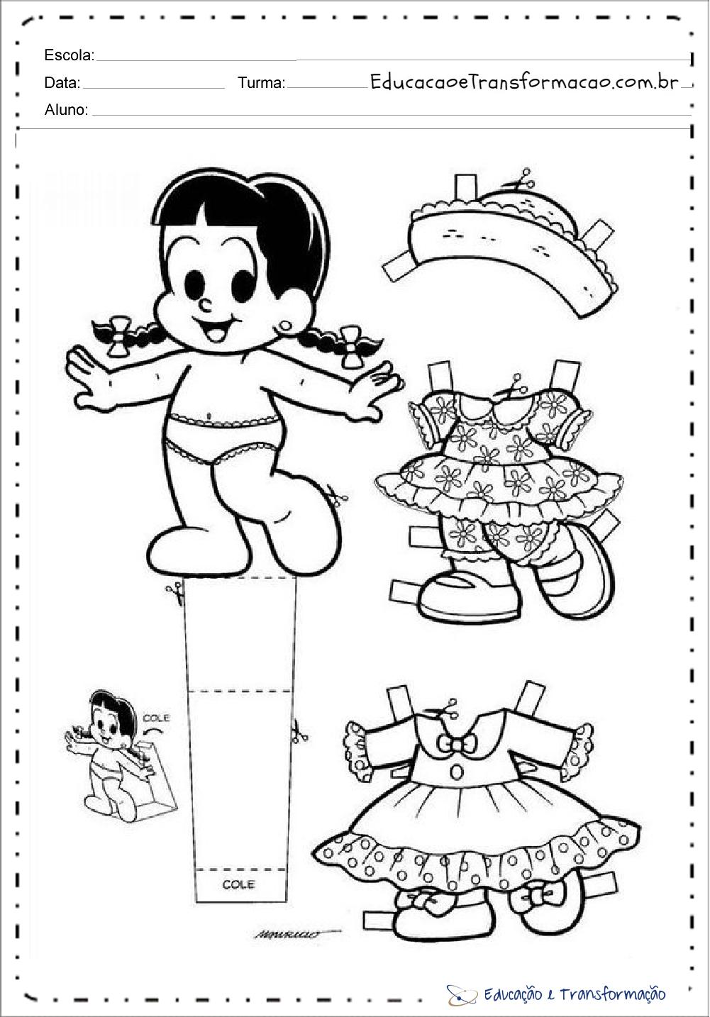 Moldes de Menina Caipira com roupa