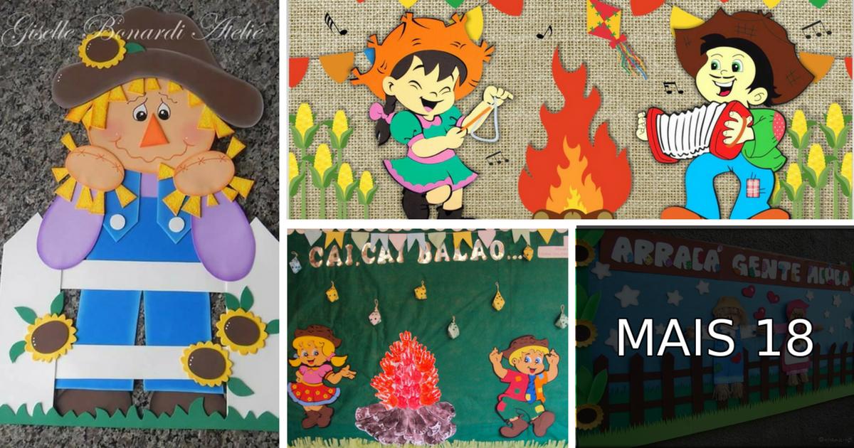 Mural Festa Junina Em Eva Ou Feltro Para Escola Com Moldes