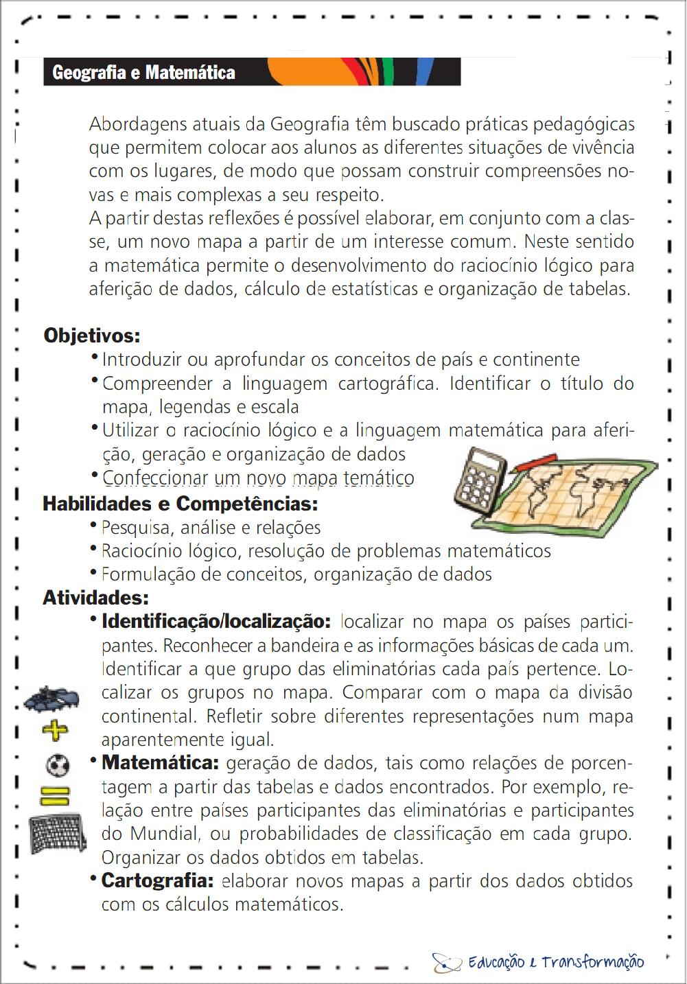 Projeto Copa do Mundo de Geografia e Matemática para imprimir