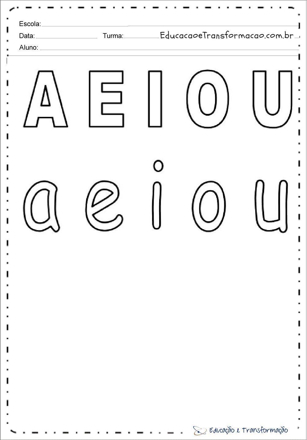 Vogais com letras maiúsculas e minusculas:
