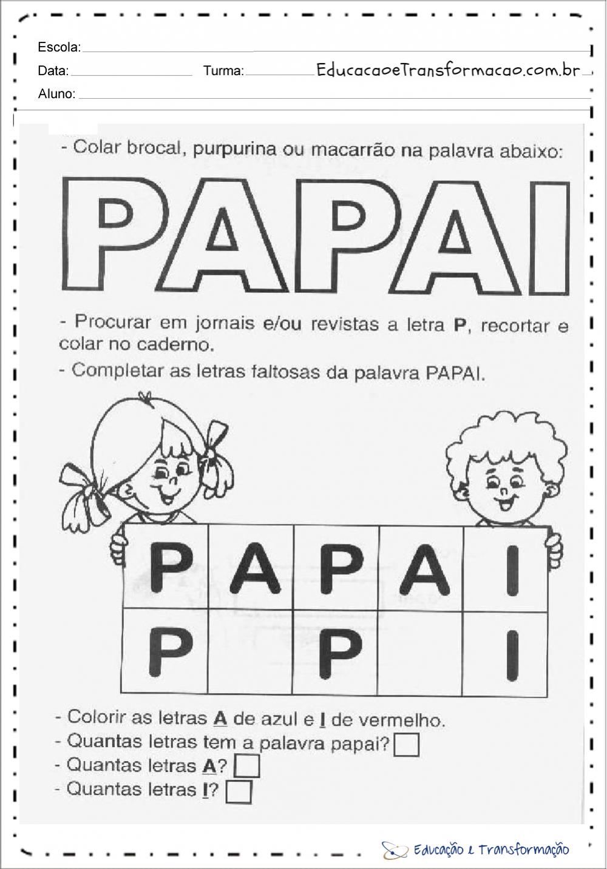 Atividade dia dos pais educação infantil
