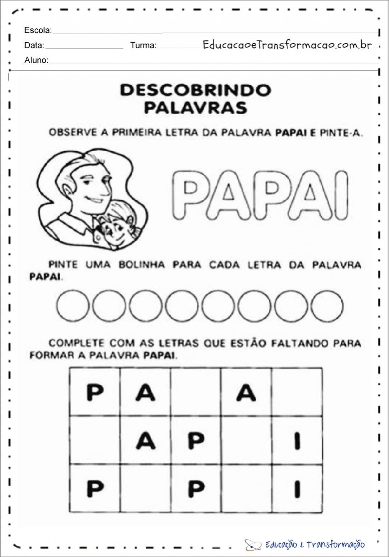Atividades dia dos pais para series iniciais - Para imprimir