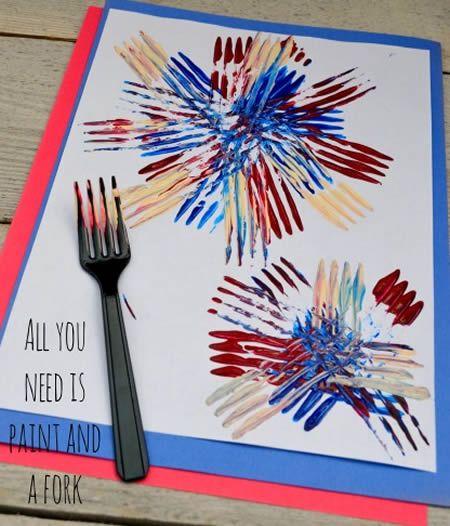 Cartão dia dos pais com garfo e tinta