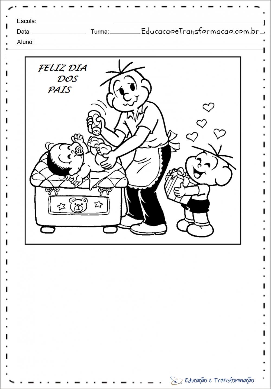 Desenhos dia dos pais com a Turma da Mônica