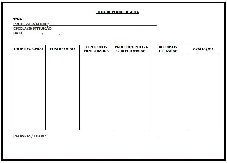 Plano de aula ensino fundamental - Modelo para imprimir