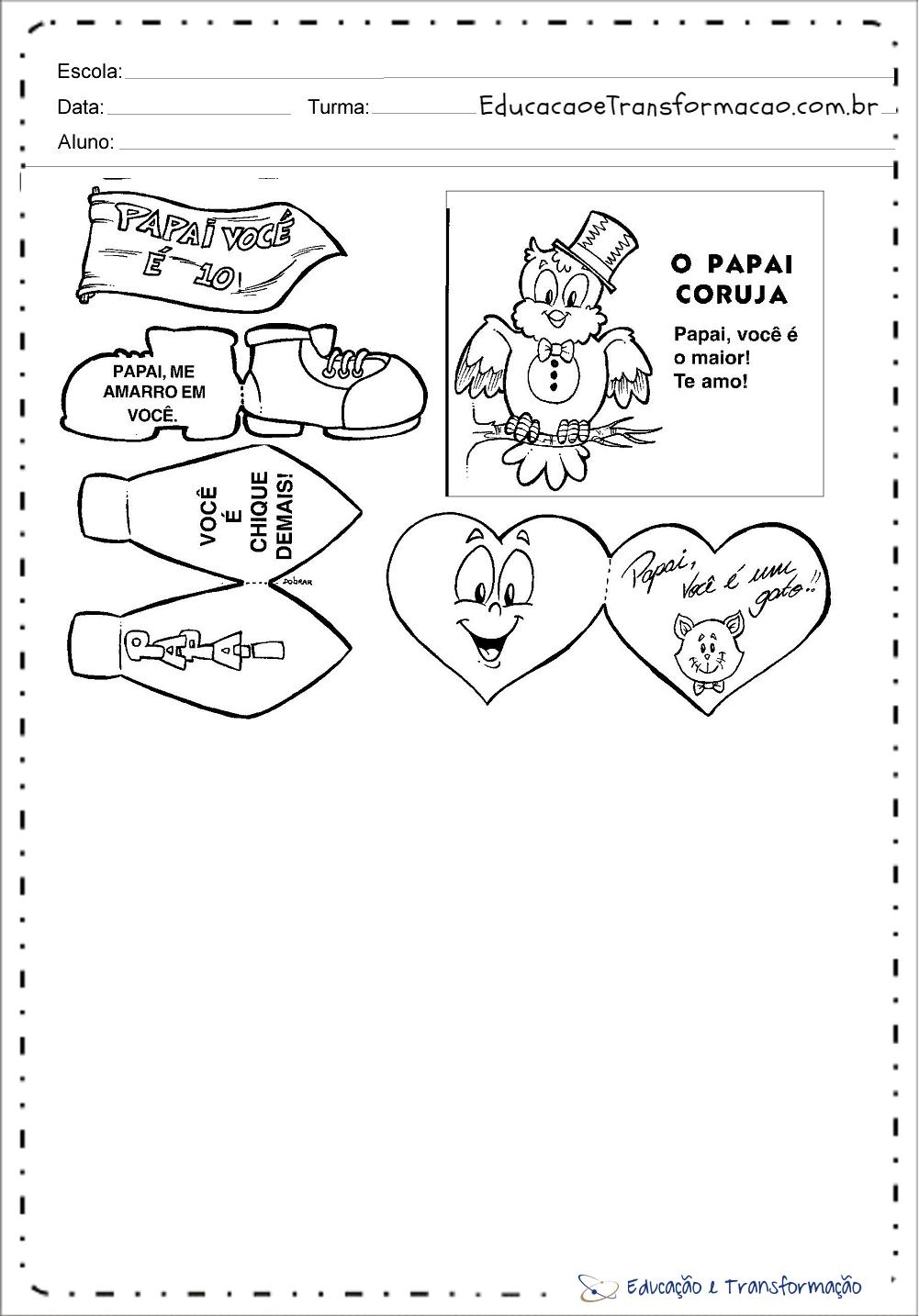 Lembrancinha do dia dos pais – Cartão para colorir