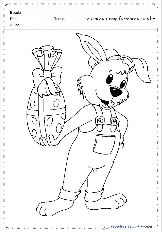 Desenho de coelho da Páscoa para imprimir