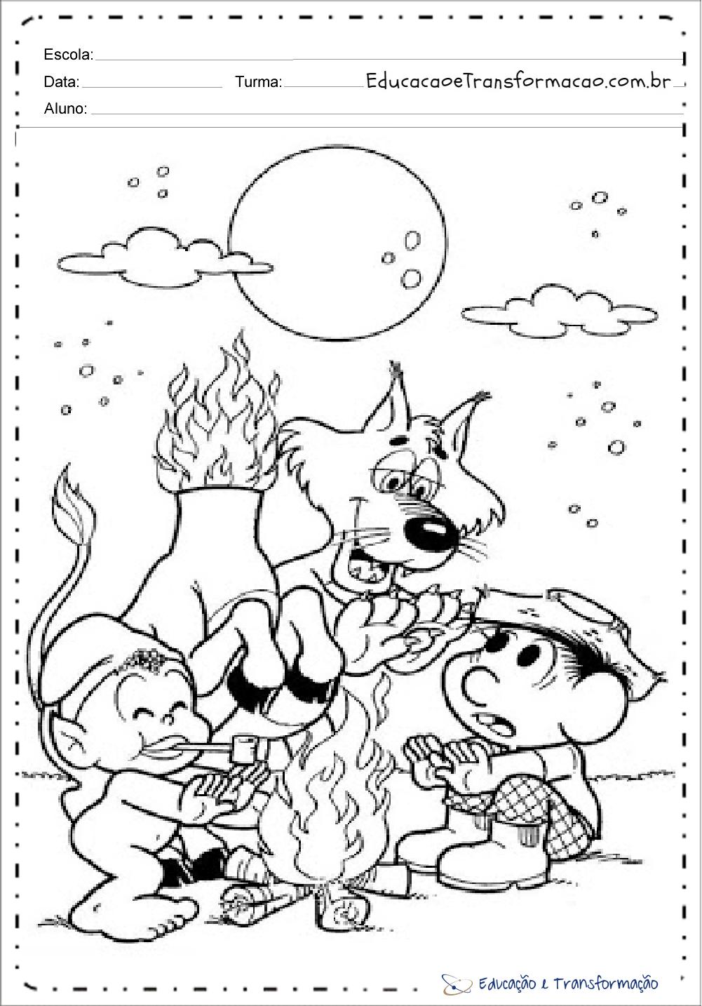 Desenhos Do Folclore Com A Turma Da Monica Para Colorir Educacao