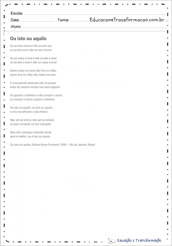 Poemas de Cecília Meireles para imprimir