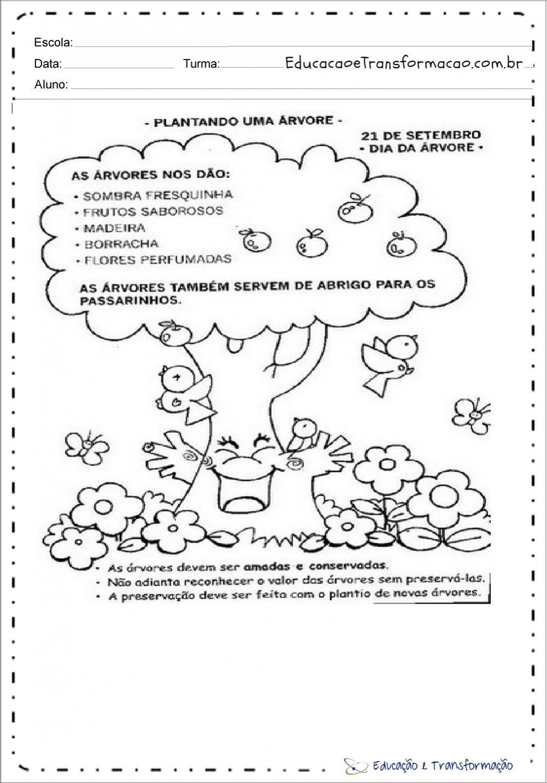 Atividades dia da arvore educação infantil para imprimir