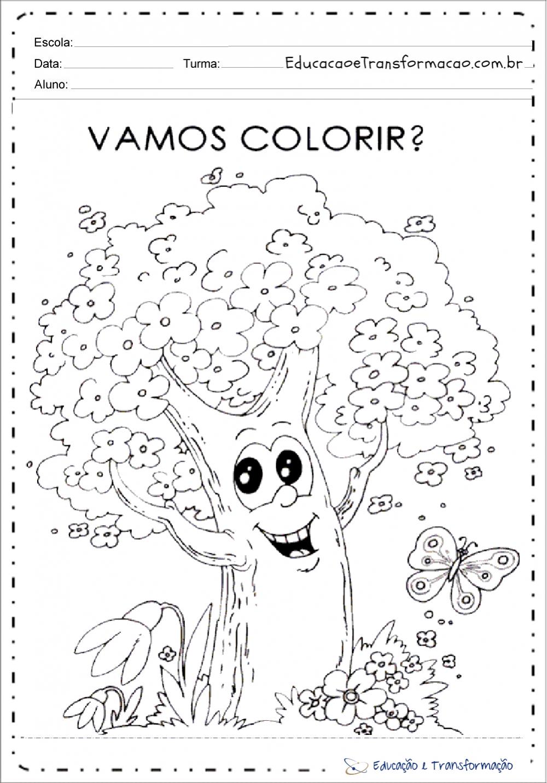 Atividades sobre o dia da arvore para colorir