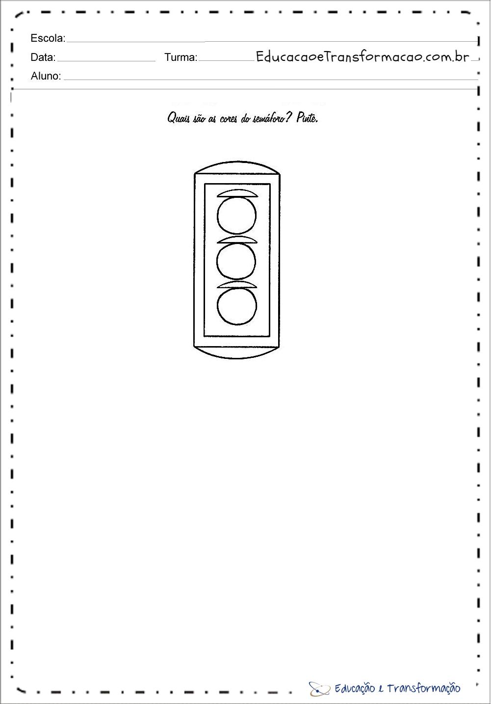 Atividades sobre o transito para colorir - Pinte o semáforo – Educação e  Transformação