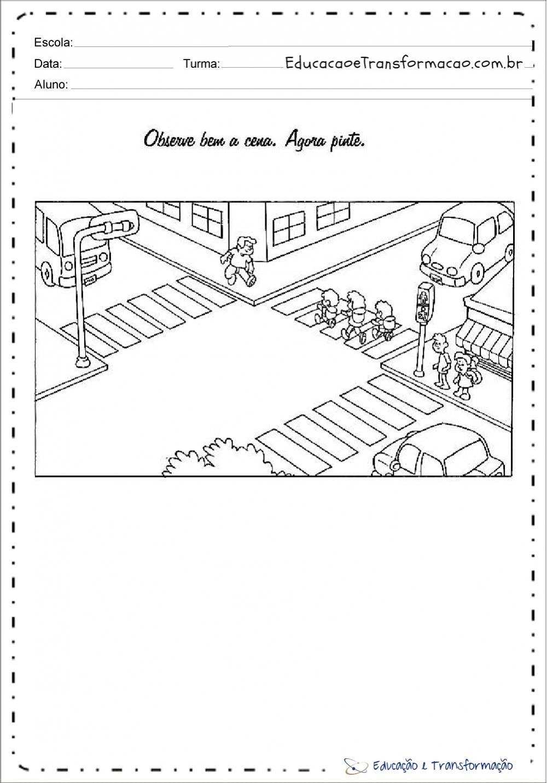 Atividades sobre o transito para colorir