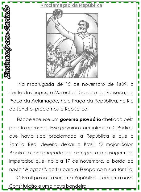 Atividades Proclamação da República 3 ano