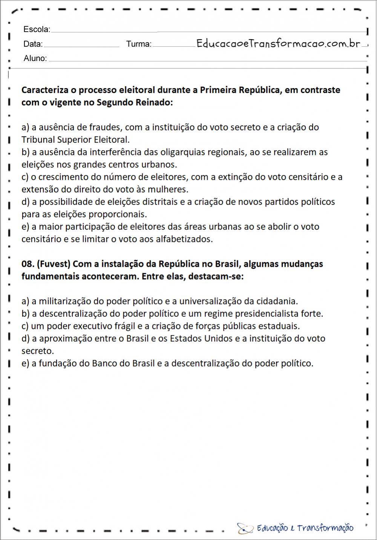 Atividades sobre a Proclamação da República