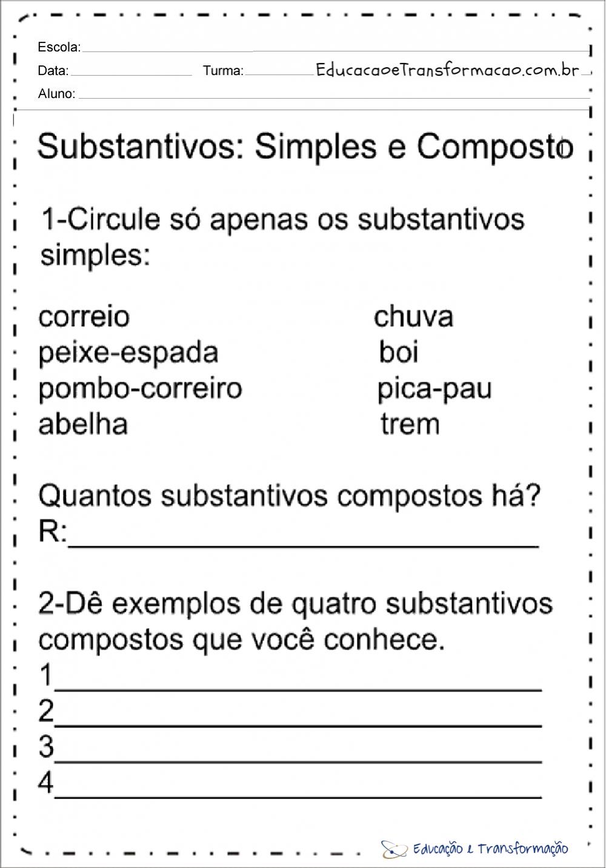 Atividades sobre substantivos para as series iniciais