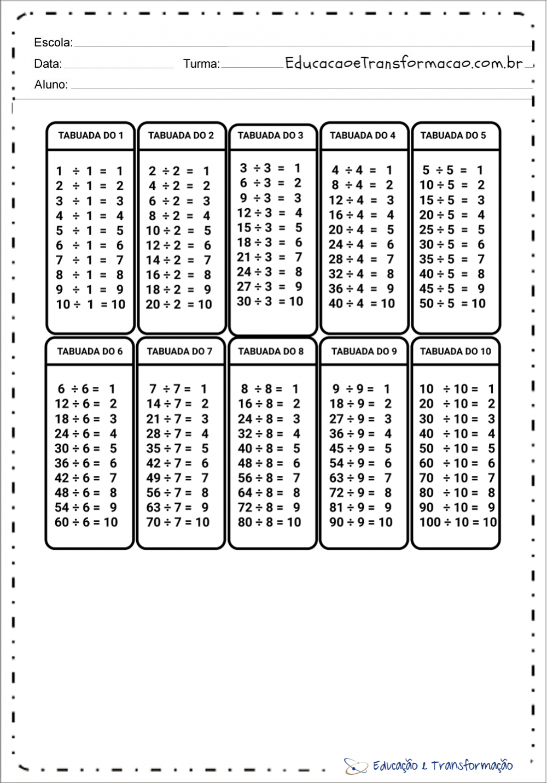 Tabuada de divisão com resultado para imprimir