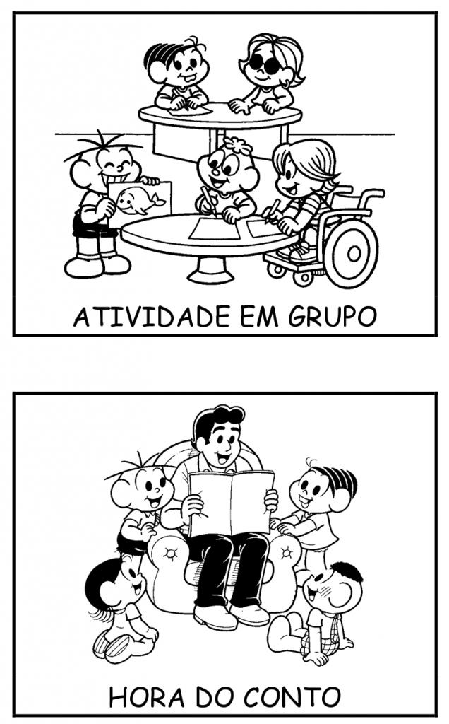 Fichas com Rotina Escolar da Turma da Mônica