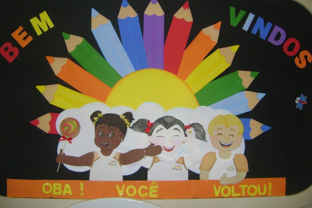 Ideias de painel de bem vindos para escola em EVA