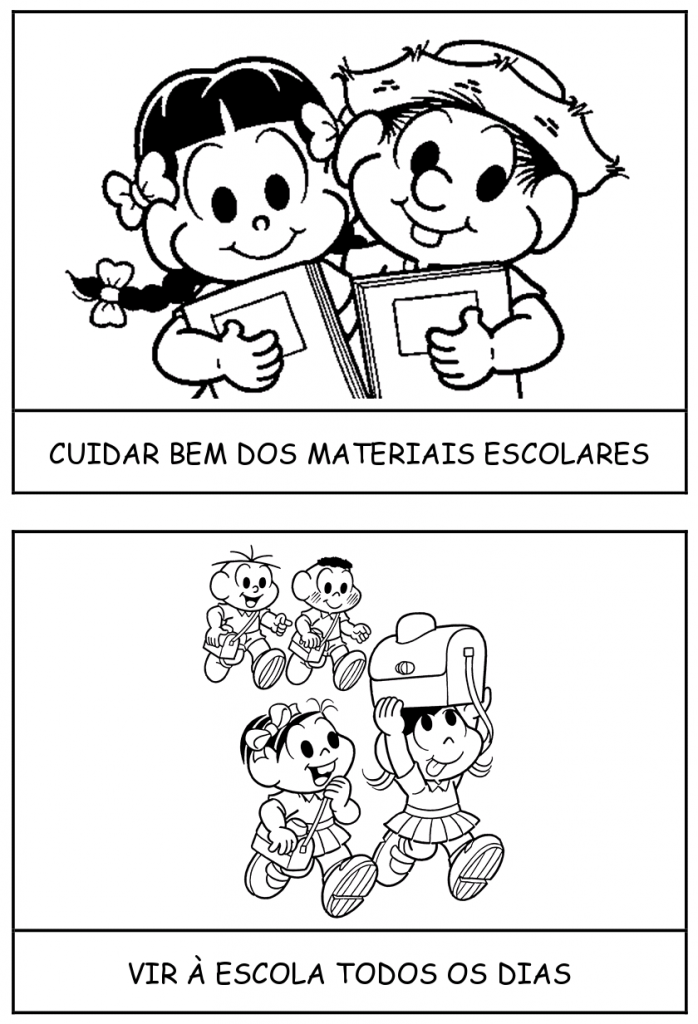 Rotina Escolar com personagens da Turma da Mônica