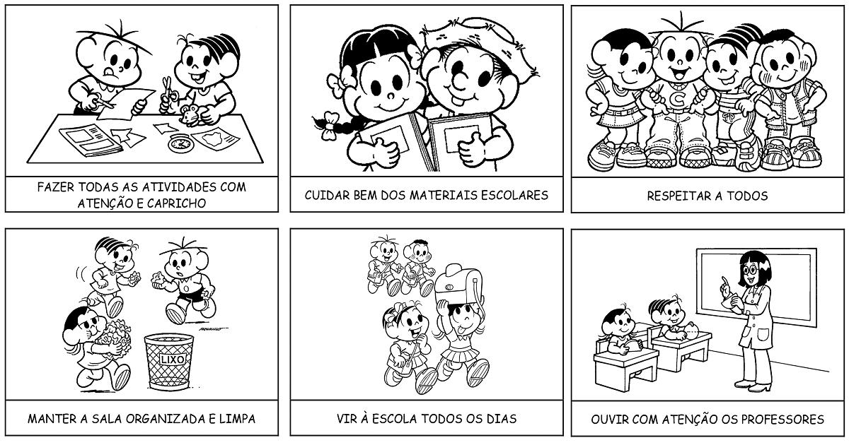 Rotina Escolar Rotina Escolar Com Personagens Da Turma Da Monica