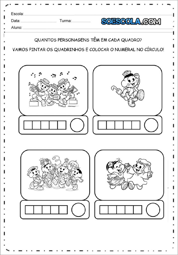 Atividades de carnaval - Quantos personagens em cada quadrado?