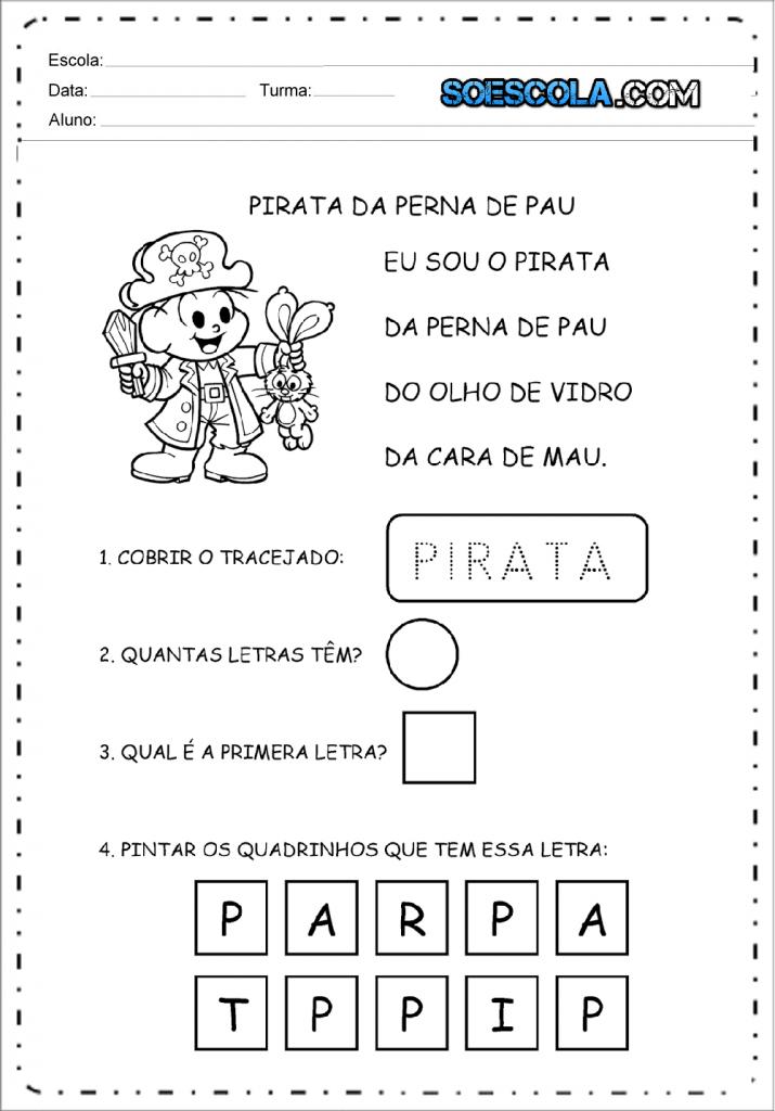 Atividades de carnaval - Pirata da Perna de Pau