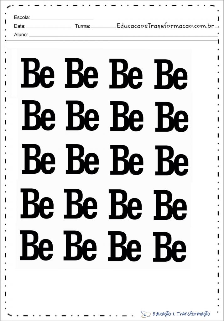 Palavras com BE – Fichas para imprimir