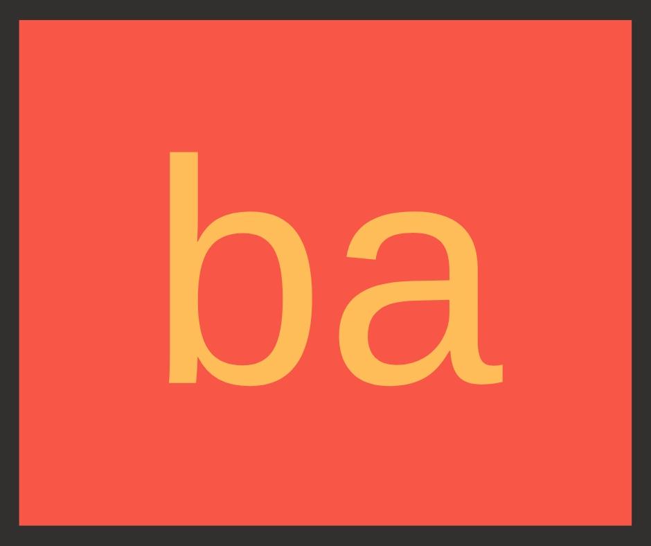 Palavras com BA - Fichas para imprimir