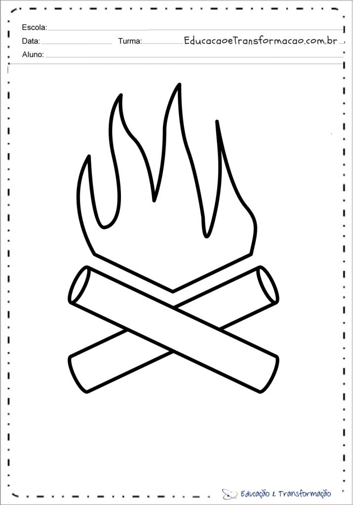 Moldes de fogueira de festa junina em EVA
