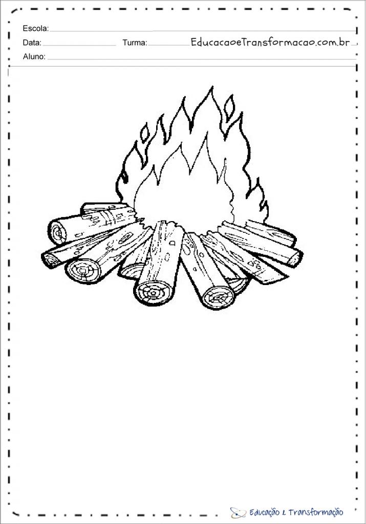 Desenhos de fogueira para colorir e imprimir