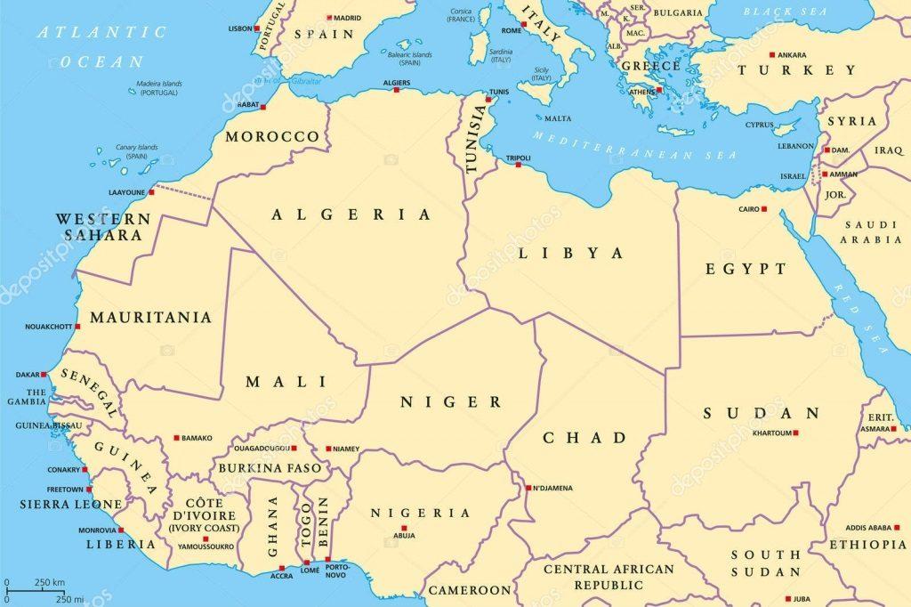 Mapa da África do norte