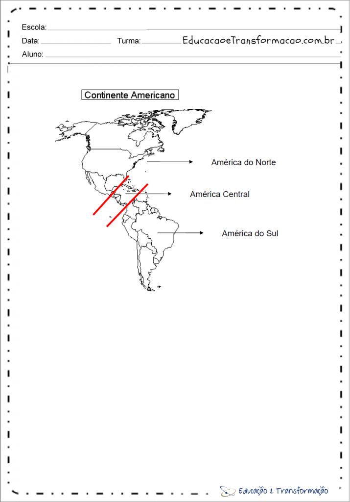 Mapa do continente americano