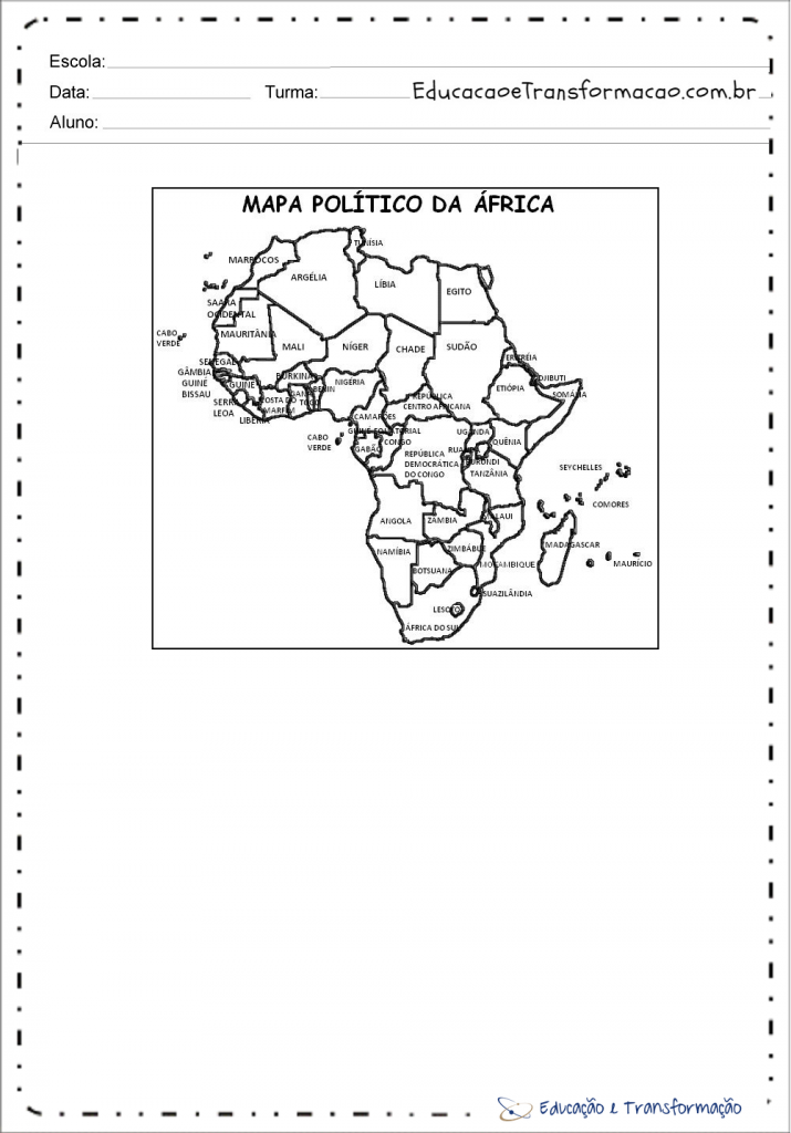 Mapa da áfrica para colorir - Politico com nomes