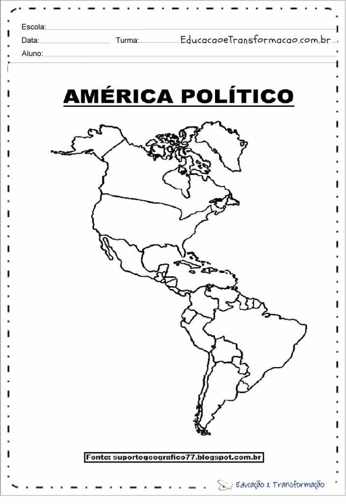 Mapa da América para imprimir e colorir